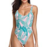 Dixperfect Women's Retro 80s/90s Inspired High Cut Low Back One Piece Swimwear Bathing Suits (XL, Leaf)