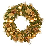 Battery Operated LED Pre-Lit 24 Inches Decorative Outdoor or Indoor Christmas Wreath with Timer, Decorated with Gold Ball Ornaments, Twigs, Leaves, and Pine Cones