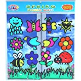 Spring Seasonal Gel Clings for Kids, Toddlers and Adults - Birds, Bees, Flowers, Sun, Rain, Ladybug, Butterflies and More - Thick Vinyl Window or Wall Gel Clings are Removable and Reusable