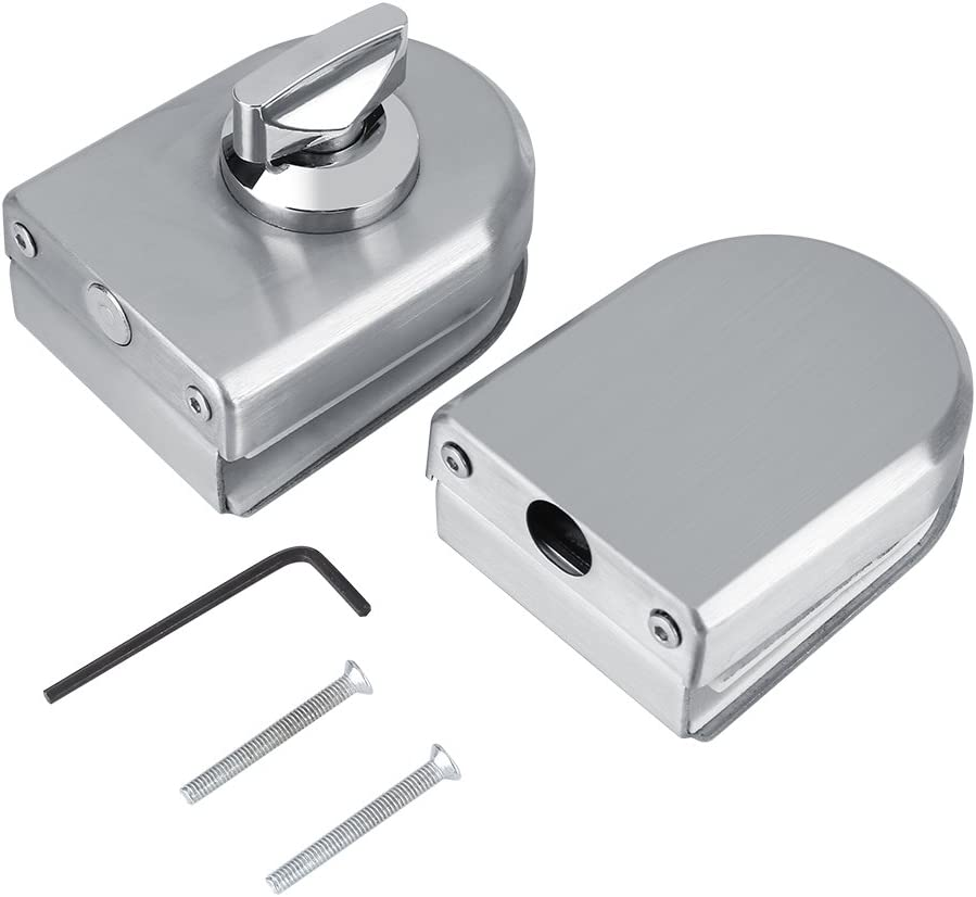 Cerradura de cristal acero inoxidable 10~12 mm puerta de cristal cerradura de seguridad antirrobo con botón giratorio para abrir y cerrar la puerta de cristal resistente para hotel cuarto de baño