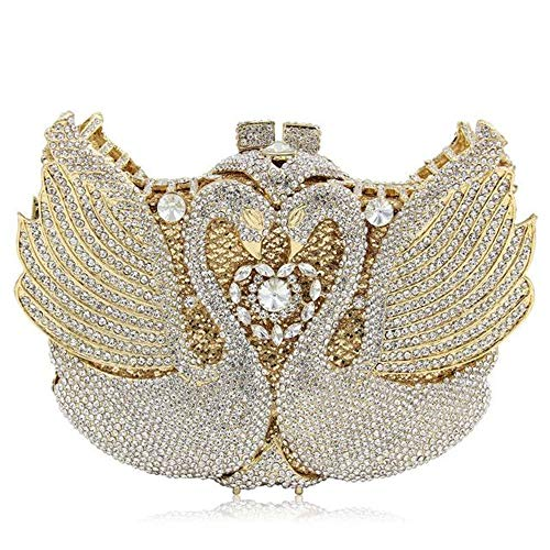 Women's clutch bag luxury swan crystal diamond evening bag hand-studded cosmetic bag picture color 20c'm13c'm5c'm