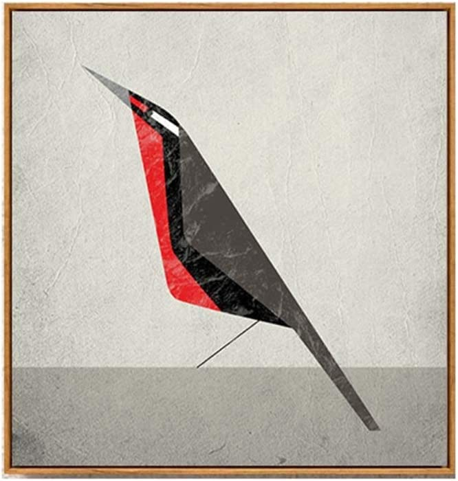 Colgando Pintura 40 * 40 cm Alitas de pollo Marco de madera Estilo nórdico Pájaro de vientre rojo Arte Bodegón Pintura decorativa americana y sala de estar Mural Pintura europea Sofá Fondo Pared Arte