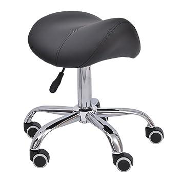 Outsunny – Taburete-sillín para peluquería y salón de estética, altura regulable, con ruedas, color crema/negro: Amazon.es: Hogar
