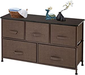 Azadx Wide Dresser Tower with Drawers, Nightstand End Table with Removable Fabric Bins, Sturdy Steel Frame and Wood Top, Dresser Organizer for Home use (2-Tier 5-Drawer, Dark Brown)
