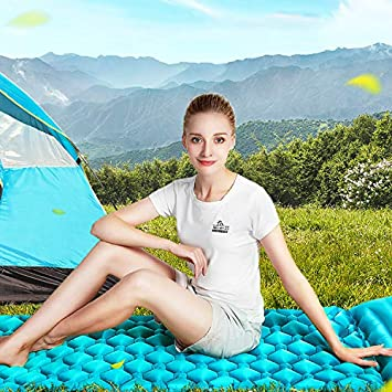 MIABOO Sleeping Pad with Pillow, Ultra Comfortable Self-Inflating Folding Camping Air Mattress Ideal for Travel Hiking Camping Backpacking Outdoor Gear and Accessories