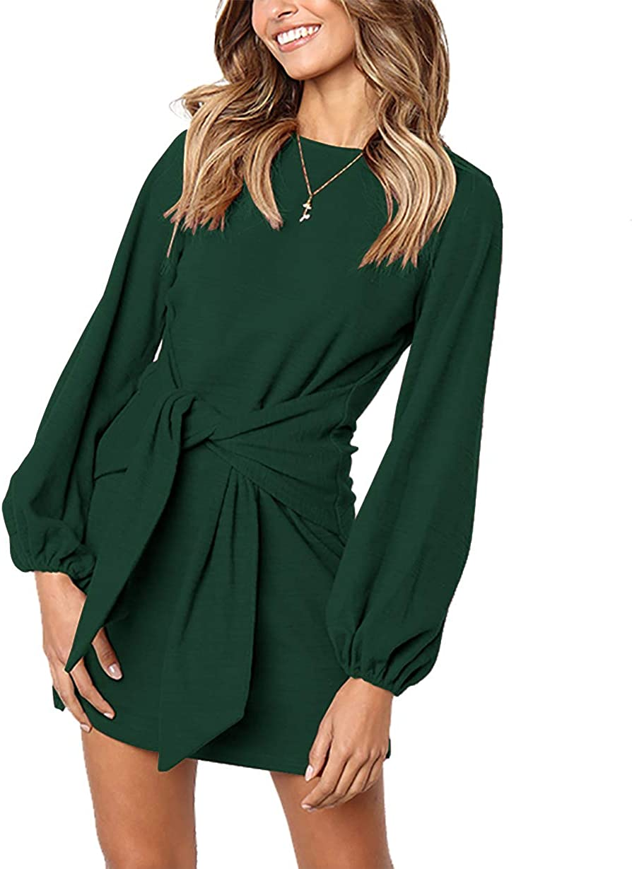 PRETTYGARDEN Women's Elegant Long Sleeve Short Dress Crewneck Tie Waist Knit Cocktail Dress