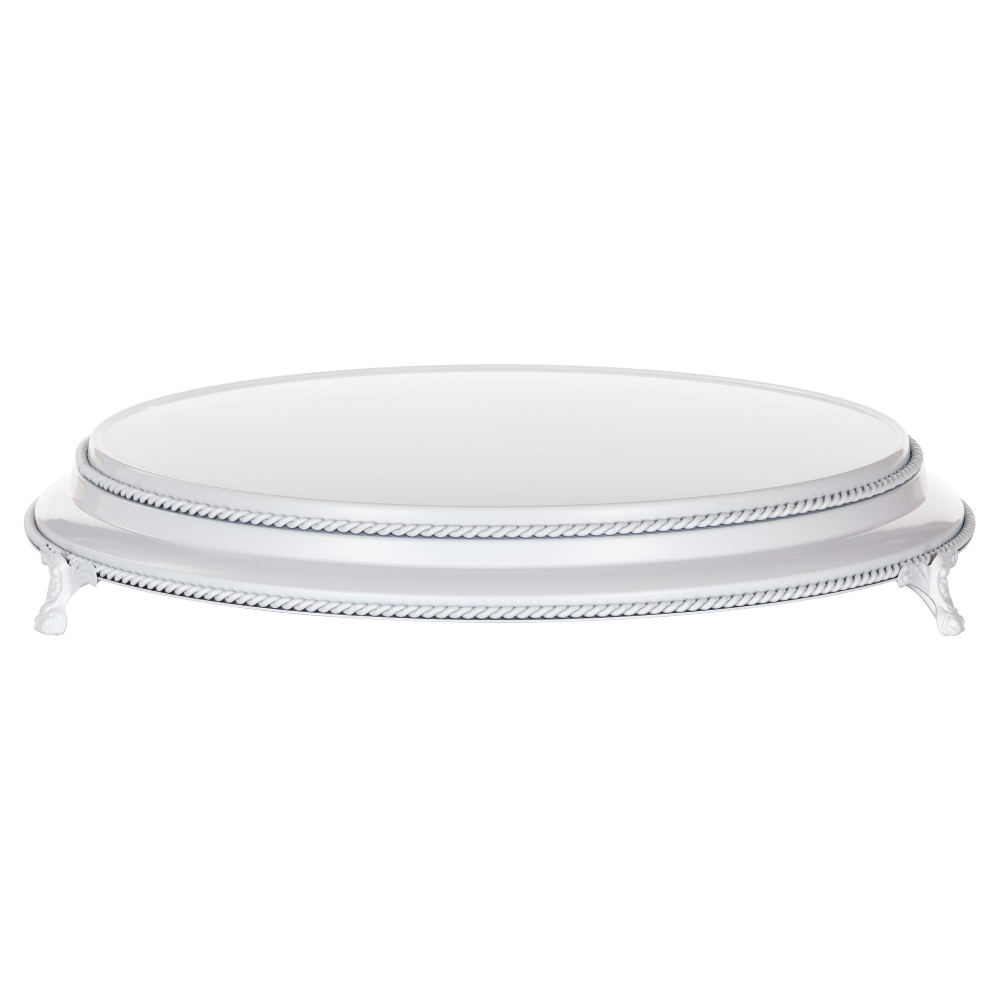 Amalfi Decor 16 Inch Cake Stand Plateau Riser, Large Dessert Cupcake Pastry Candy Display Plate for Wedding Event Birthday Party, Round Metal Pedestal Holder, White by Amalfi Décor