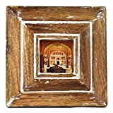 Indian Heritage Wooden Photo Frame 3x3 Mango Wood Molding Design in Dark wood/White Wash Finish