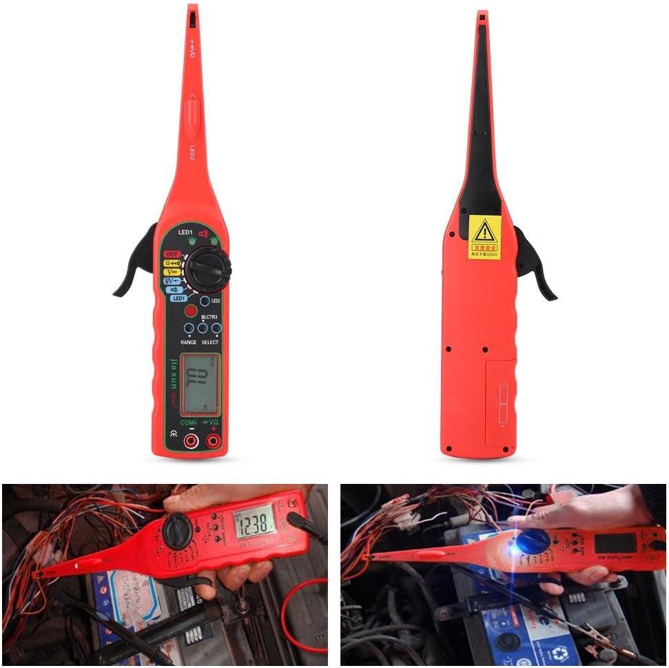 Keenso Testeur de circuit /électrique pour voiture multim/ètre automobile Outil de diagnostic num/érique de tension et de r/ésistance