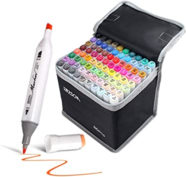 60 Colors Painting and Sketching ZSCM Dual Tips Alcohol Based Markers Pens with Case Art Twin Adult Permanent Marker for Drawing Coloring