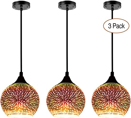 JEUNEU 3-Pack Modern 3D Colourfull Glass Pendant Light Firework Lamp Restaurant Bedroom Living Dining Room Lighting Fixture