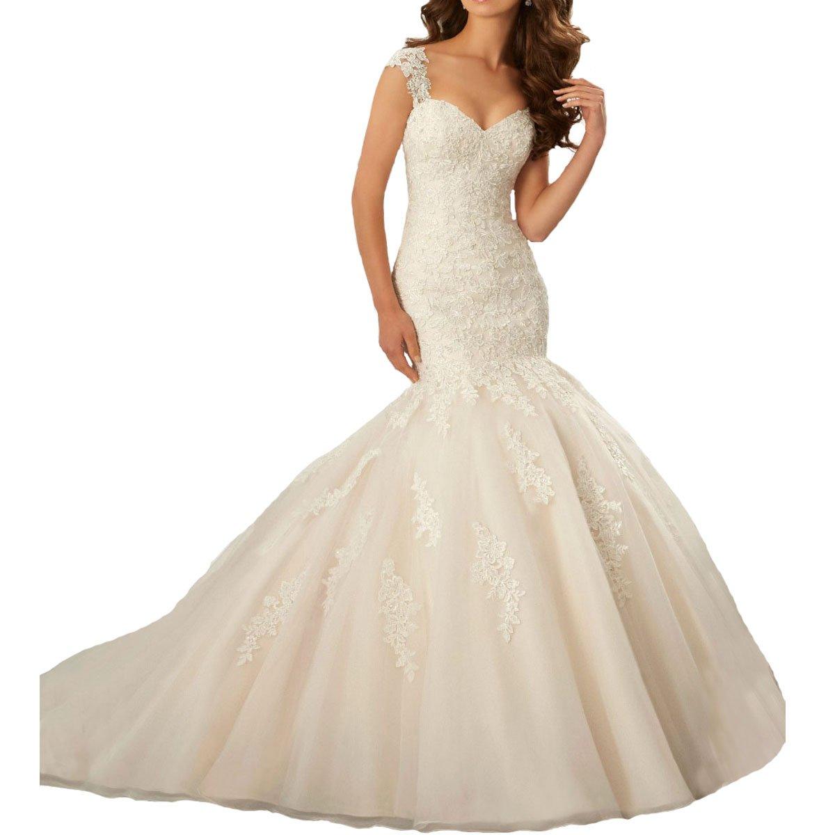 Fair Lady Women's Cap Sleeves Mermaid Lace Backless Wedding Dresses Bridal 2017 Long(White,4)