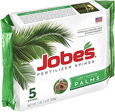 Jobe's 1010 Palm Tree Outdoor Fertilizer Food Spikes, 5-Pack.