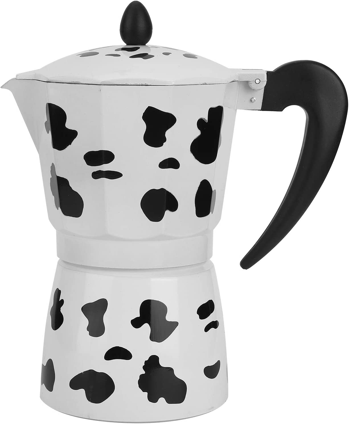 Espresso Maker Stove Top, Milk Cow Color Aluminum Stovetop Espresso Moka Pots Coffee Pot 3cup 6cup 9cup Not for Induction Cooker Heating(6Cup)