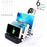 6-Port USB Charging Station Dock Stand & Organizer, Multi Port Charger Station, Universal Tablet Cell Phone Docking Station for iPhone 6/7/8/X, Samsung Galaxy, iPad,Tablets, Apple Watch etc.