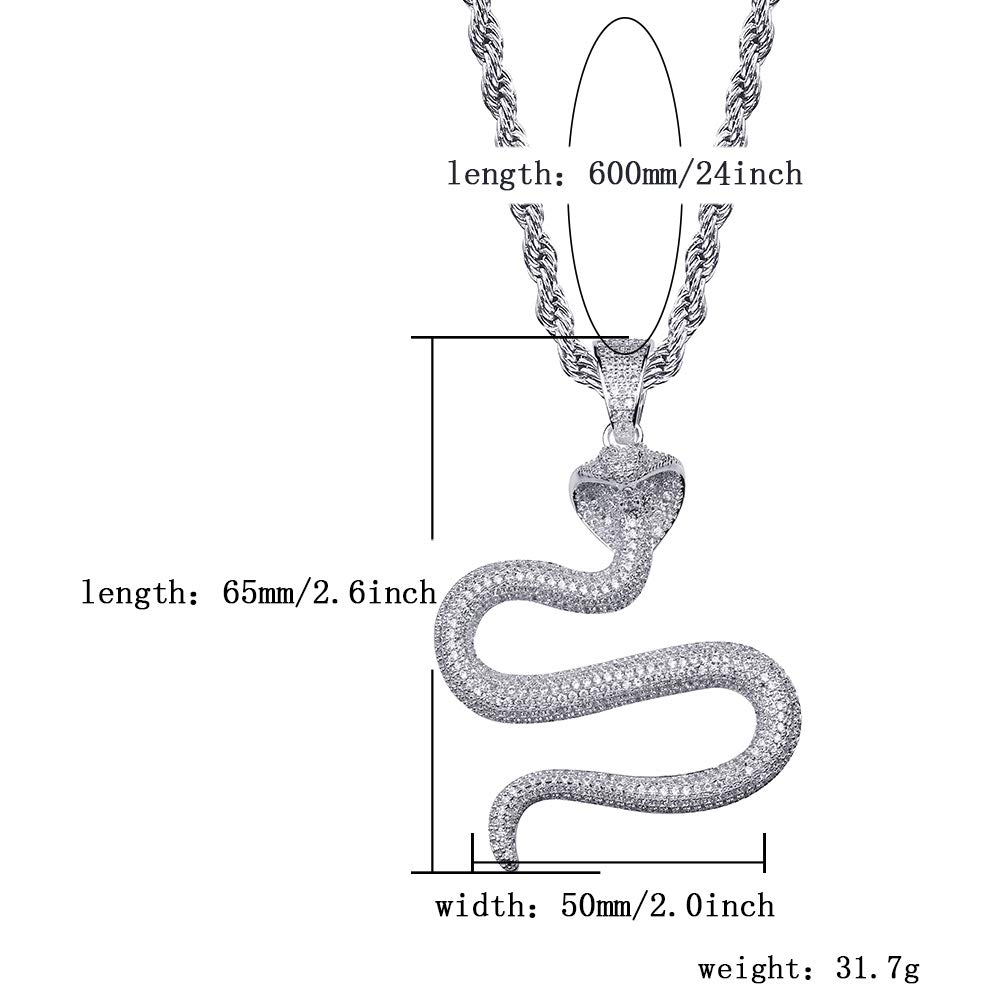 JINAO Hip Hop Iced Out Cobra Snake Animal Lovers Pendant Necklace Micropave Simulated Diamond Jewelry with Solid Back