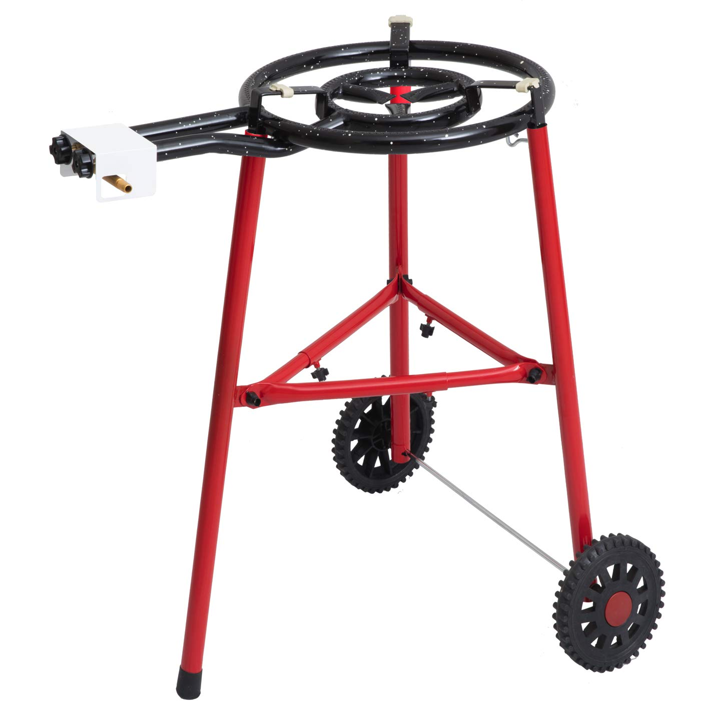 Paella Burner and Stand Set on Wheels Mabel Home Paella Pan Complete Paella Kit for up to 14 Servings 18 inch Enamaled Steel Paella Pan 15.75 inch Gas Burner