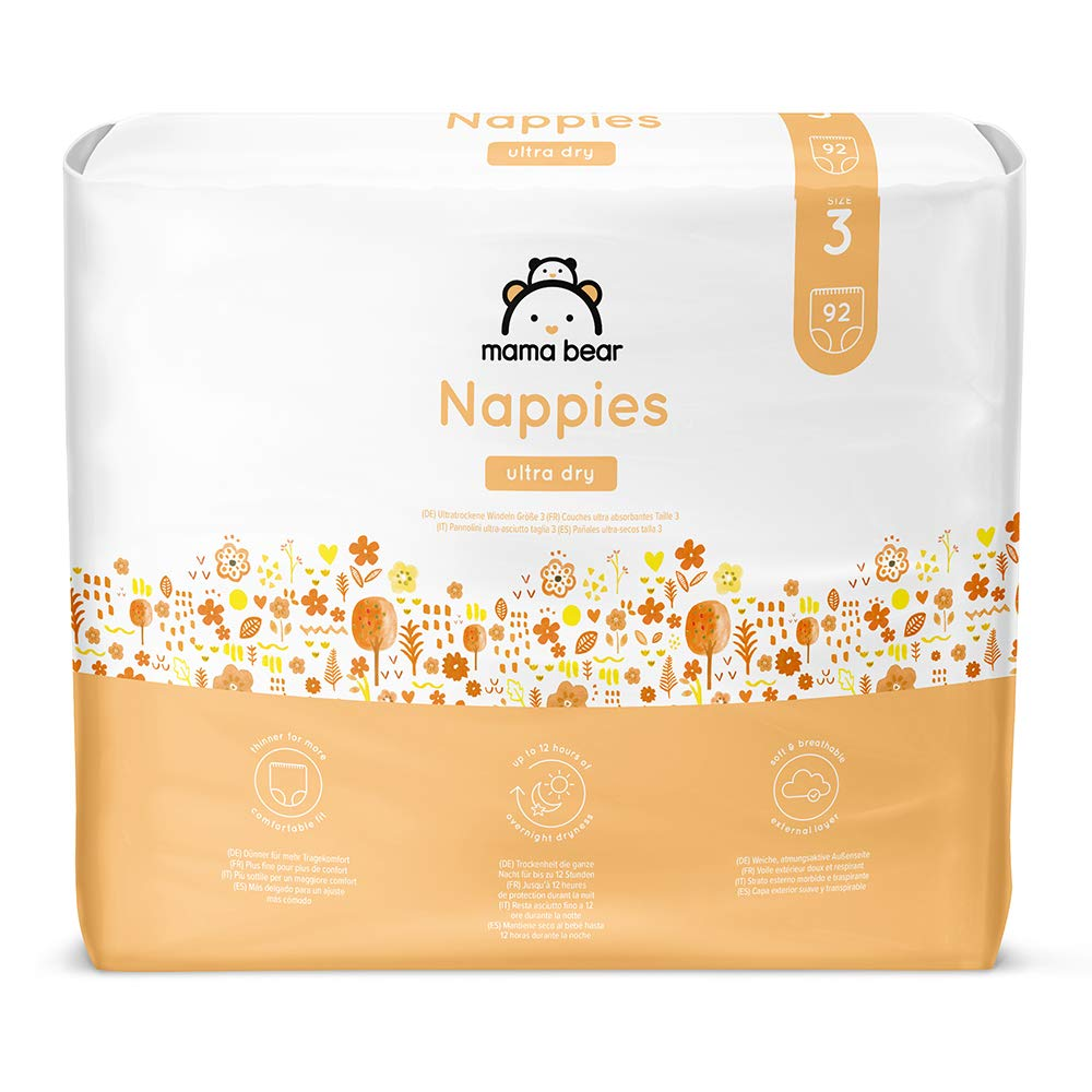 - avec canaux dair- 180 couches 8-14 kg 2 packs de 90 couches Marque Mama Bear Couches ultra absorbantes Taille 4