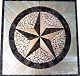 Marble Mosaic Floor Tile Medallion Texas Star Design 30''x30''