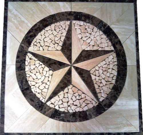- Tile Floor Medallion Marble Mosaic Texas Star Design 36x36