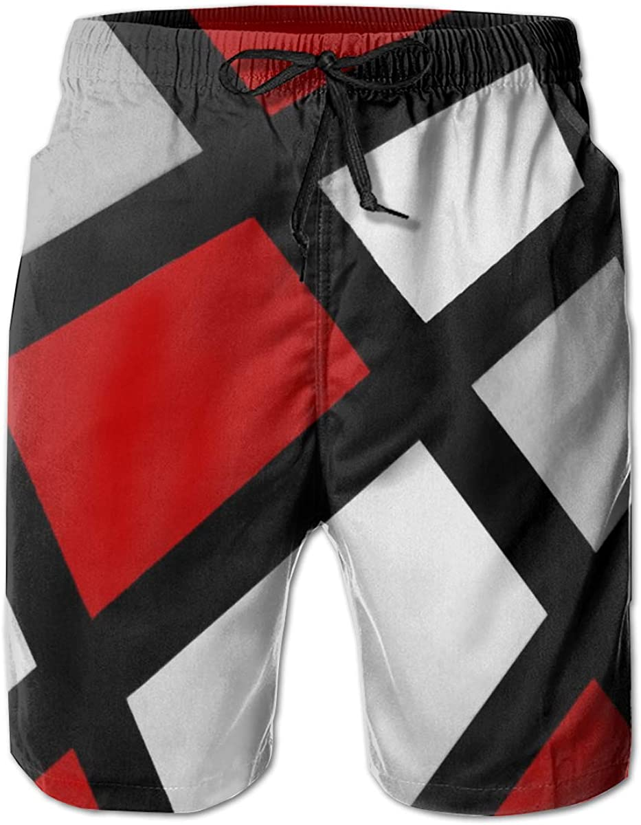 Yt92Pl@00 Mens 100/% Polyester Red Gray Black White Geometric Beachwear Casual Swimsuit with Pockets