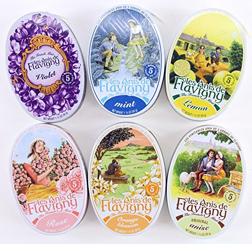 (Les Anis De Flavigny Mints 6-Flavor Variety: One 1.75 oz Tin Each of Original Anise, Orange Blossom, Rose, Violet, Lemon and Mint (Pack of)