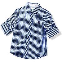 OCHENTA Boys' Button Down Plaid Shirt, Kids Roll up Long Sleeve Casual Tops