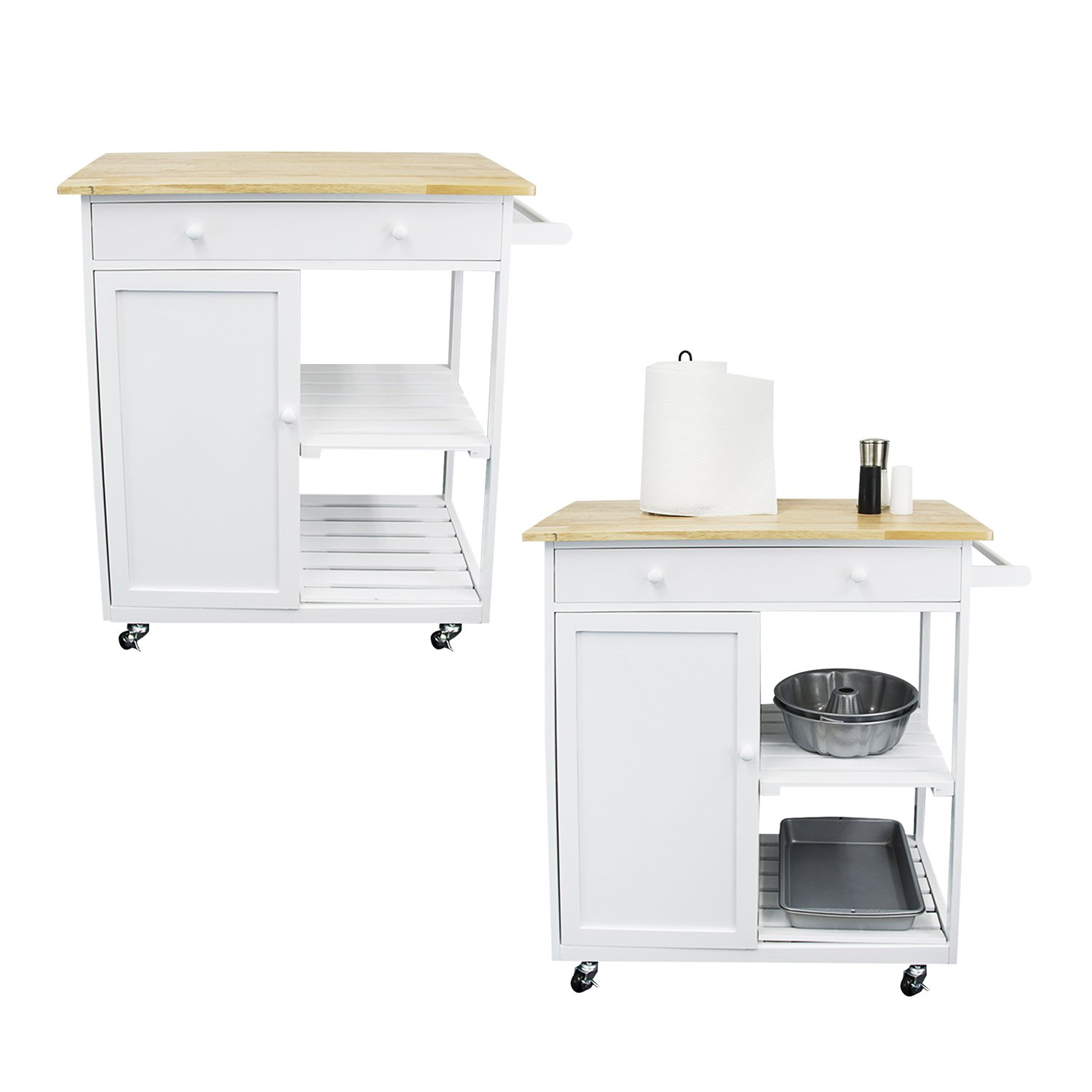 Houseables Kitchen Cart, Microwave Stand And Carts, White, 17.38'' (Length) x 29 ½'' (Width) x 34'' (Height), MDF Frame, Rolling, Storage Table, Island, Utility, With Wood Top, Drawer, Shelf, Cabinet