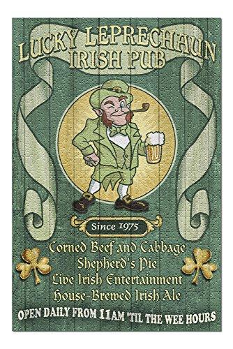 Leprechaun Irish Pub - Vintage Sign (20x30 Premium 1000 Piece Jigsaw Puzzle, Made in USA!)