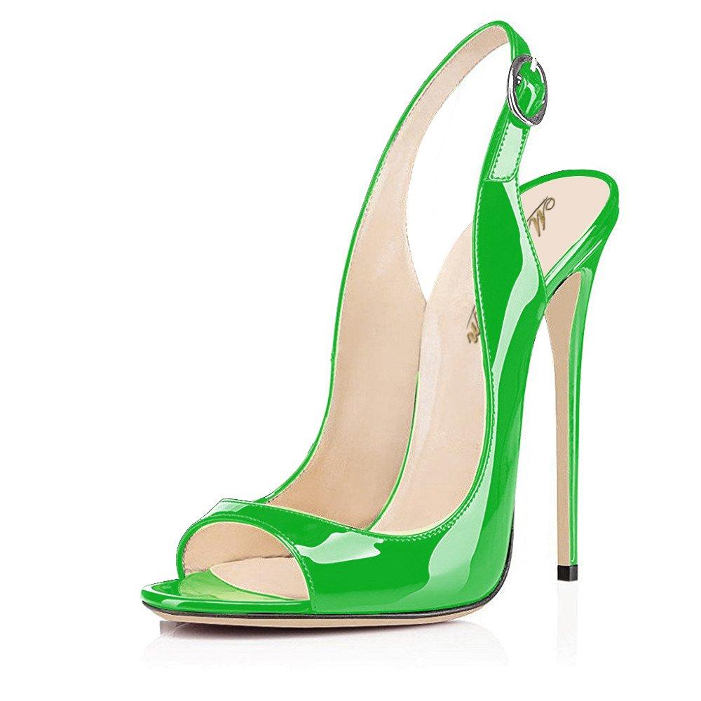 Modemoven Women's Patent Leather Pumps,Peep Toe Heels,Slingback Sandals,Evening Shoes,Cute Stilettos B0722RWGMV 10.5 B(M) US|Green