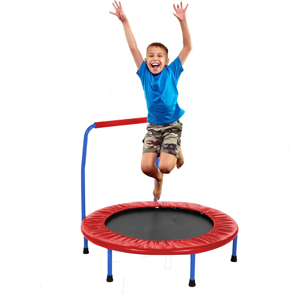 Fashine Kids 36 Inch Diameter Rebounder Trampoline with Padded Frame Cover Handrail for Indoor and Outdoor Use, Portable Foldable Durable Safe Trampoline(US STOCK) (Red)