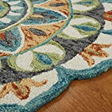 LR Home Dazzle Area Rug, 6' Round, Teal/Green