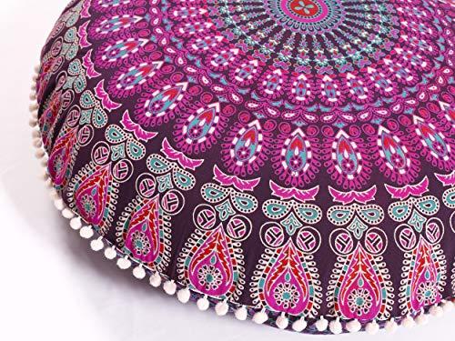 Popular Handicrafts Large Hippie Mandala Floor Pillow Cover - Cushion Cover - Pouf Cover Round Bohemian Yoga Decor Floor Cushion Case- 32 Purple