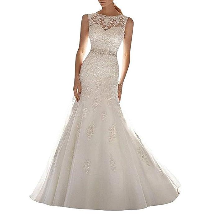 ANJURUISI Vestido de novia de la boda de la sirena del Applique del cordš®n de las mujeres: Amazon.es: Ropa y accesorios
