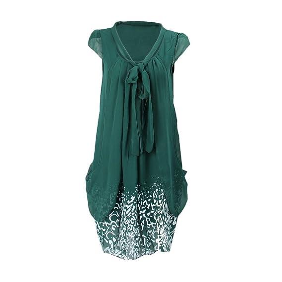 SODIAL(R) Vestido de impresion tropical Vestido de mujer Vestido de chiffon rodado informal