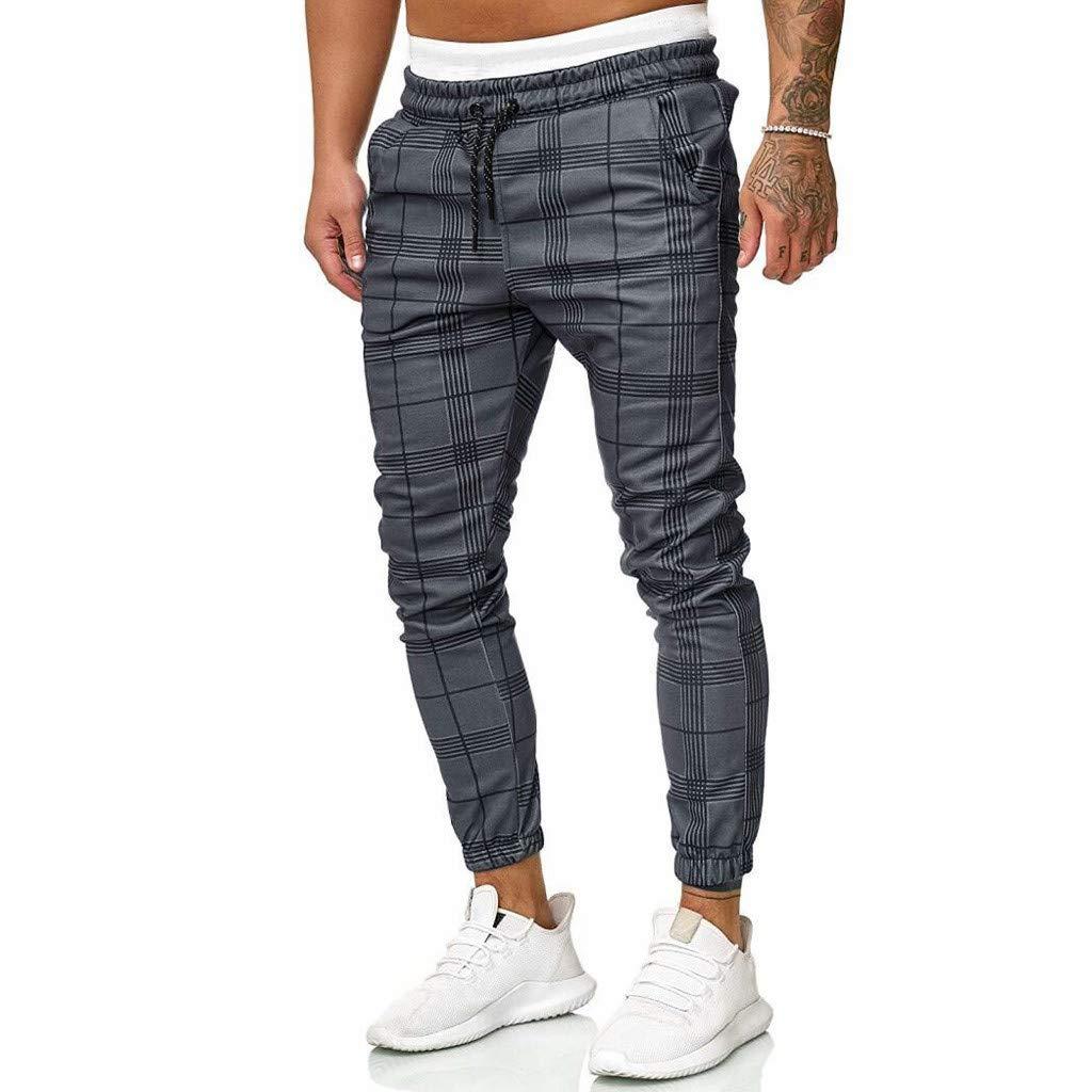 YenMY Mens Long Casual Sport Pants Slim Fit Plaid Trousers Running Joggers Sweatpants