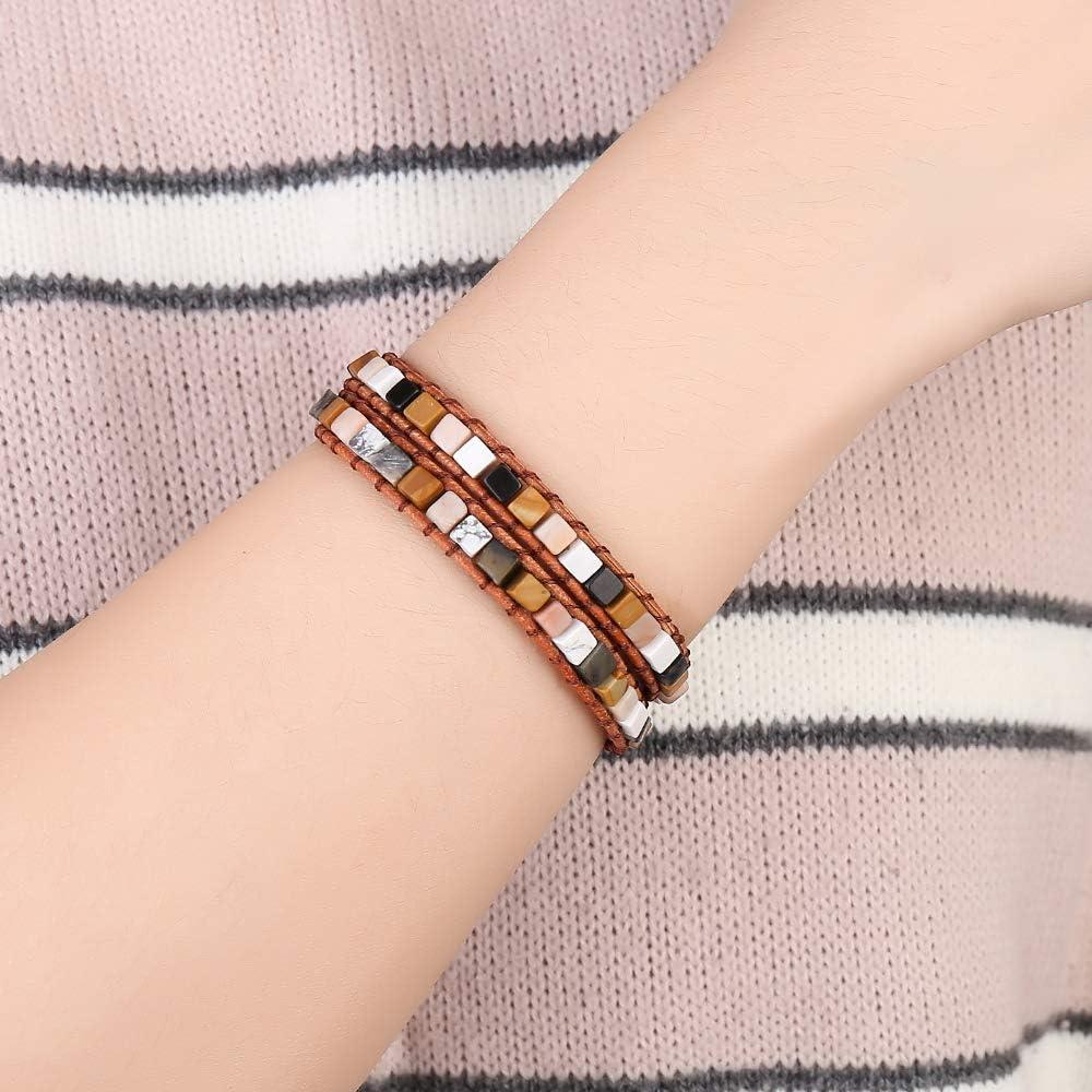 Plumiss Women Handwoven Leather 2 Wrap Bead Stone Bracelet Choker Collection