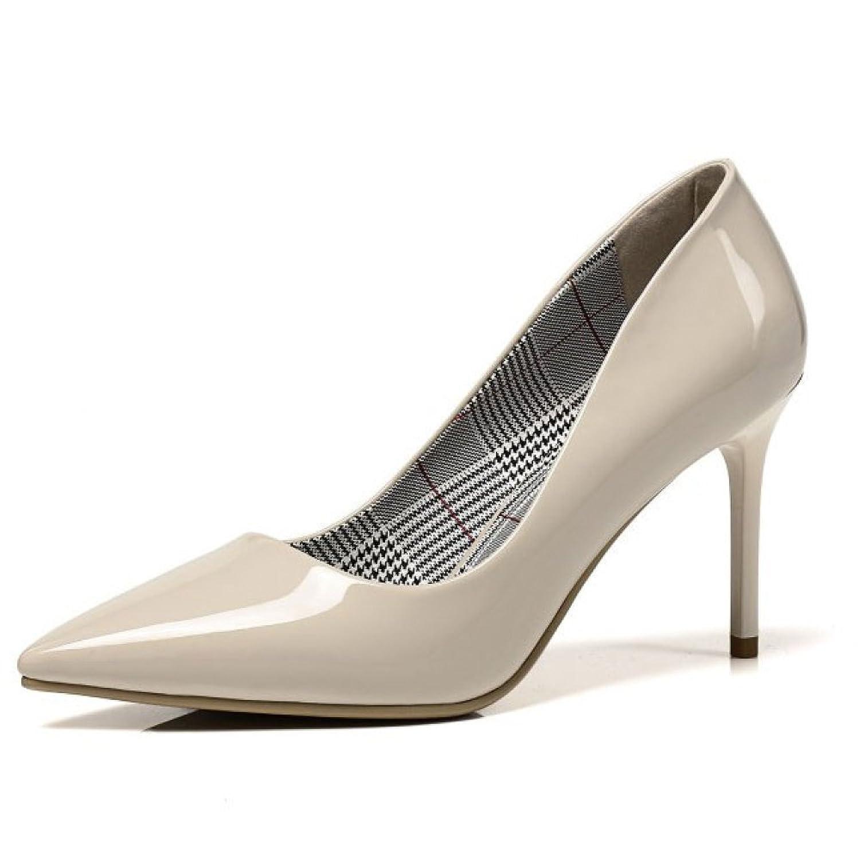Chic Señora Bien con Tacones Altos Zapatos Sencillos Zapatos Bajos De Boca  Baja Zapatos De Trabajo dab4e651317f