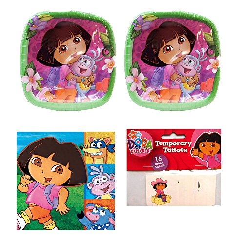 08 Dora The Explorer Birthday Party supplies Pack, 16 guests, plates, napkins and tattoos