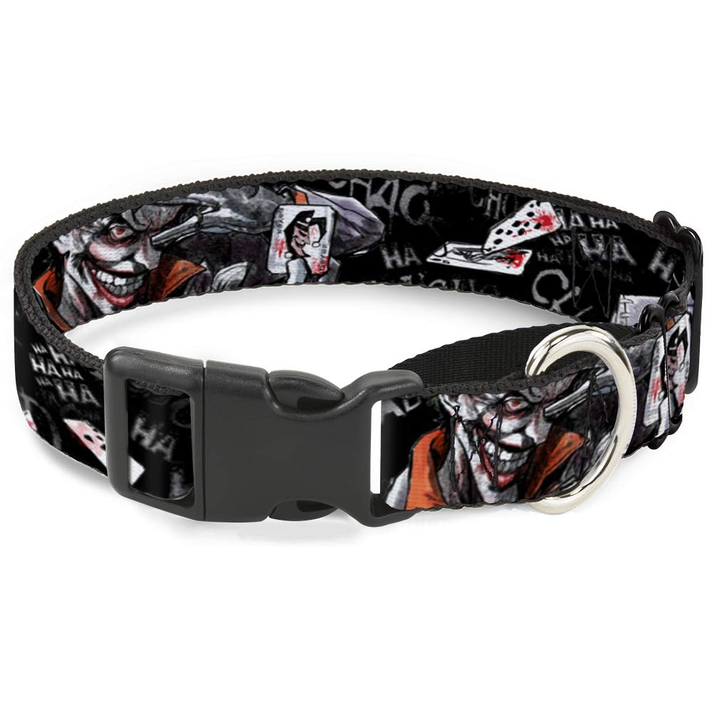 Buckle Down Dog Collar Martingale Joker Brilliantly Twisted Psycho 2 Poses Cards Black Grays 15 to 26 Inches 1.0 Inch Wide
