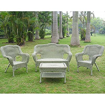 International Caravan Furniture Four Piece Maui Outdoor Seating Group - Item Material: 4mm Resin Wicker/Steel Item Color: Antique Moss Country of Origin: China - patio-furniture, patio, conversation-sets - 61adr0yN58L. SS400  -