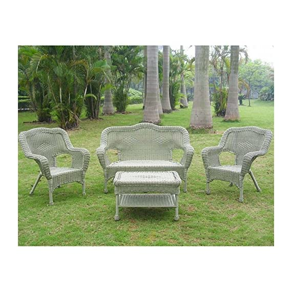 International Caravan Furniture Four Piece Maui Outdoor Seating Group - Item Material: 4mm Resin Wicker/Steel Item Color: Antique Moss Country of Origin: China - patio-furniture, patio, conversation-sets - 61adr0yN58L. SS570  -