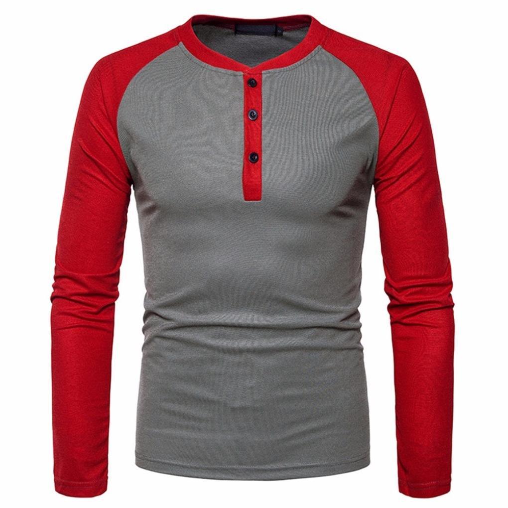 T-Shirt à Manches Longues pour Homme,Covermason Mens Chemise à Manches Longues Slim Fit Shirt V Cou Patchwork Chemisier Top Tee de Sport