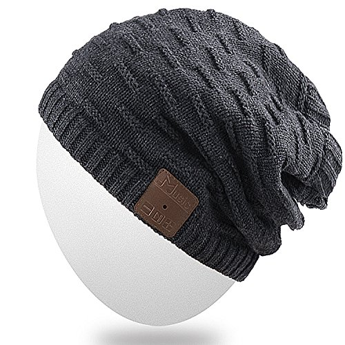 Rotibox 2IN1 Washable Winter Mens Womens Trendy Bluetooth Beanie Hat Scarf Wireless Stereo Headphones Mic Hands Free Rechargeable Battery Compatible with Cell Phones,iPhone,Android,Laptops - Black