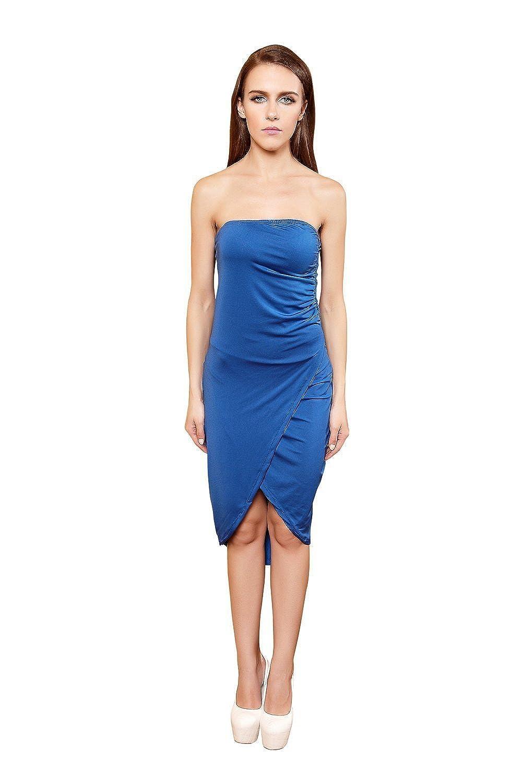 YiYiFS® Frauen-Sommer-dünner Sitz-trägerloses über Knie Solide blaue beiläufige Abendball-Cocktailkleid-Sommerkleid ED134