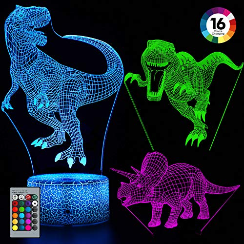 Balhvit 3D Dinosaur Night Light for Kids, Best Christmas Holiday Gift for Boys and Girls, 16 Colors & 3 Pattern Change Dinosaur Light, 3D LED Illusion Lamp with Remote Control for Children s Bedroom