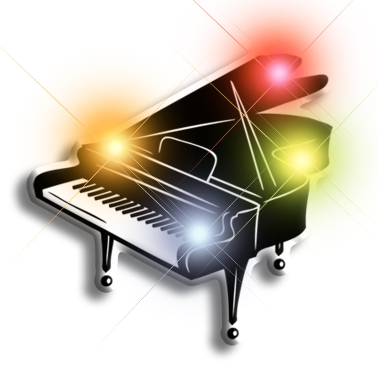 Light Up Grand Piano Flashing Blinking LED Body Light Lapel Pins (Set of 25)