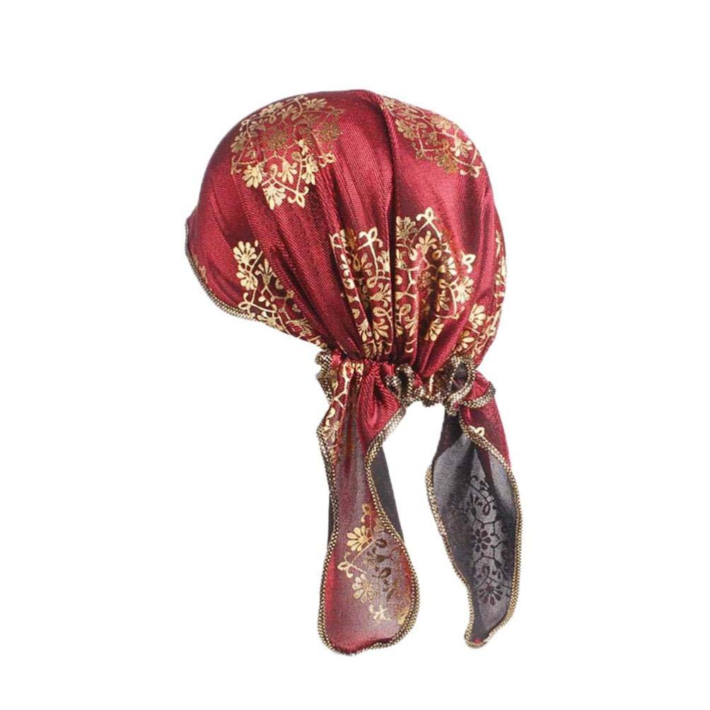 UJUNAOR Men Women India Muslim Stretch Retro Turban Hat Head Scarf Wrap Cap