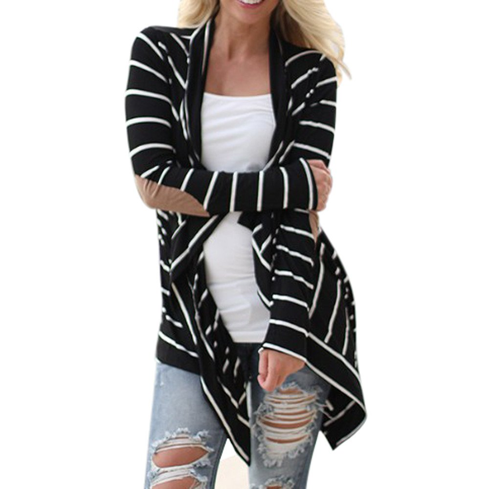 DongDong Clearance❤Women's Striped Cardigans,Casual Plus Size Long Sleeve Patchwork V Neck Outwear Coat