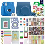 Fujifilm Instax Mini 9 Instant Camera Cobalt Blue With with 40 Sheets of Instant Film, Custom Mini 9 Case with Strap, Photo Album, Assorted Frames , 6 Color Filters And More Best Value Bundle